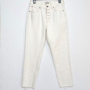Free People Cream Button Fly Ankle Jeans